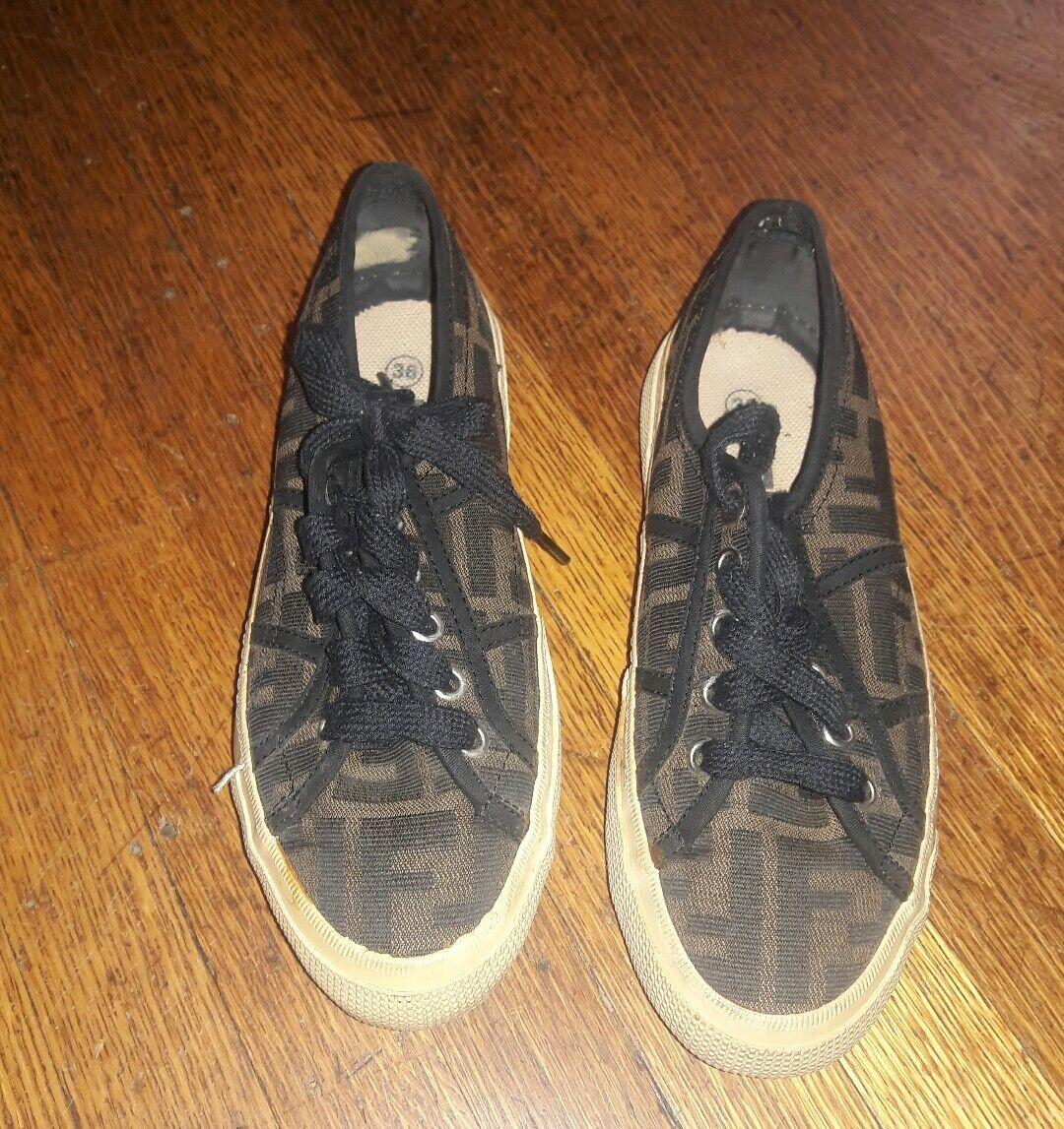 Fendi Zucca Jaquard Vintage Sneakers- Size 6- Rare