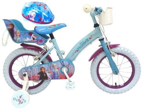 Kinderfahrrad Disney Frozen 2 14 Zoll Felgenbremsen Korb Puppensitz Helm 51-55cm