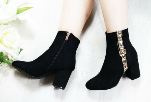 Femmes Femmes Bottines Chunky Mi Bas Bottes à talon bottier et ziped Bureau Chaussures Taille