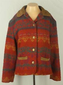 Woolrich-Coat-Size-M-Southwestern-Red-Yellow-Green-Wool-Long-Sleeves
