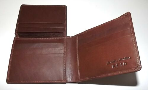 NEW ITALIA LEATHER MEN/'S BIFOLD RFID PROTECTED PASSCASE WALLET TOFFEE BROWN