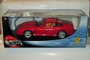 Hotwheels-Ferrari-575MM-Escala-1-18-De-Metal-Fundido-Vermelho-Novo-em-folha-na-caixa