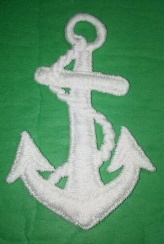 ANCHOR WITH ROPE BRIGHT WHITE THREAD SEW ON PATCH