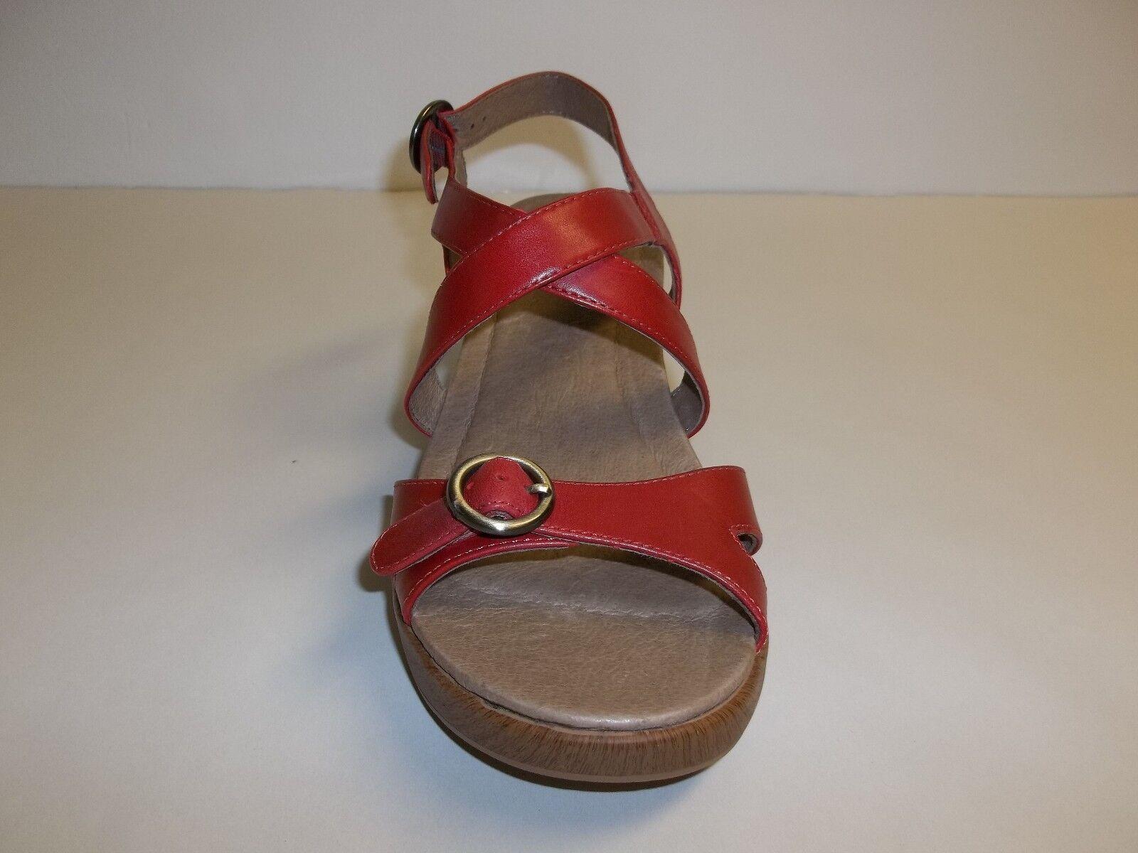Dansko Größe 10.5 to 11 JESSIE ROT Leder Wedge Sandales NEU Damenschuhe Schuhes NWOB