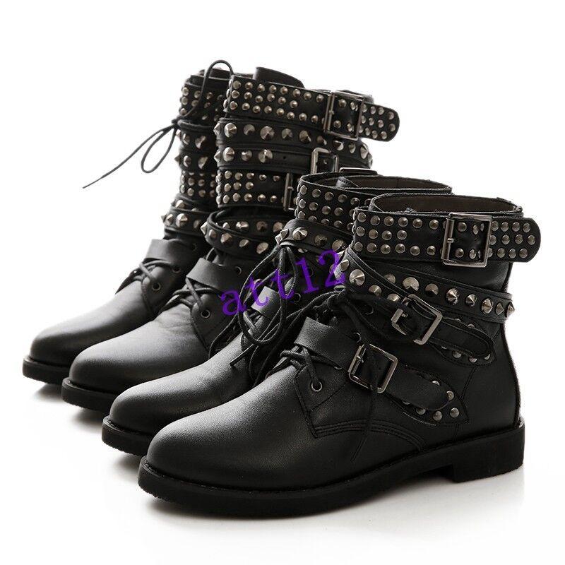 Punk Hip Pop Womens Buckle Strap Lace Up Rivet Studded Combat Ankle Boots 34-43