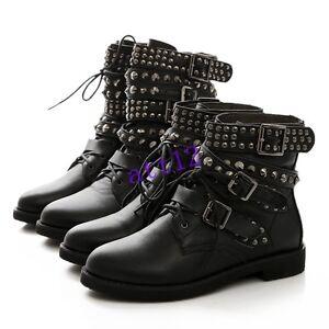 Womens-Punk-Gothic-Buckle-Strap-Lace-Up-Rivet-Studded-Combat-Ankle-Boot-Plus-SZ