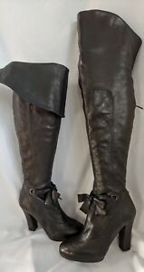 55359ddcc41 Image is loading DKNY-Thigh-Length-Black-Leather-High-Heel-Boots-