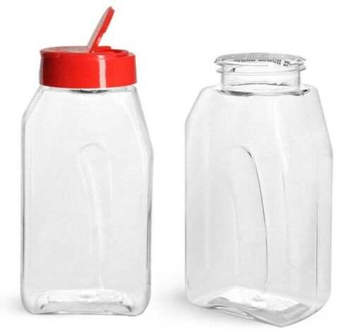 16 oz Gripped Style  CLEAR SPICE BOTTLE  JARS with Red or Black Caps U-Pick