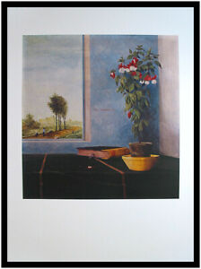 Franz Radziwill Stilleben mit Fuchsie Poster Kunstdruck im Alu Rahmen 80x60cm