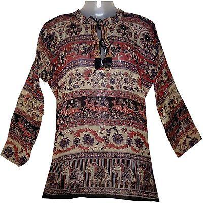 Indian Cotton Top Blouse Boho Tunic Ehs Hippie Retro Blusa Women Gypsy Ethnic