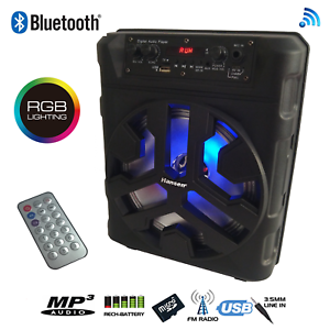 BLUETOOTH-KARAOKE-POWERED-SPEAKER-RECH-BATTERY-WIRED-OR-WIRELESS-MICS-LIGHTS