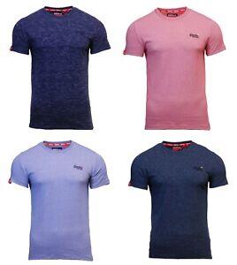 Cuello-redondo-para-hombre-Superdry-Orange-Label-de-Manga-Corta-camiseta-Azul-Marino-Rojo