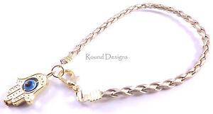 Hamsa-Gold-Leather-Bracelet-Evil-Eye-Kabbalah-Hand-Of-Fatima-Amulet-Charm-Chamsa