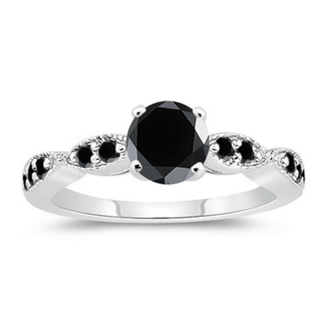 1.27. ct AAA BLACK COLOR REAL MOISSANITE ROUND .925 STERLING SILVER RING SIZE 7
