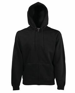 Fruit-of-the-loom-men-039-s-classic-hooded-sweat-Jacket-full-zip-plain-Adult-Hoodie