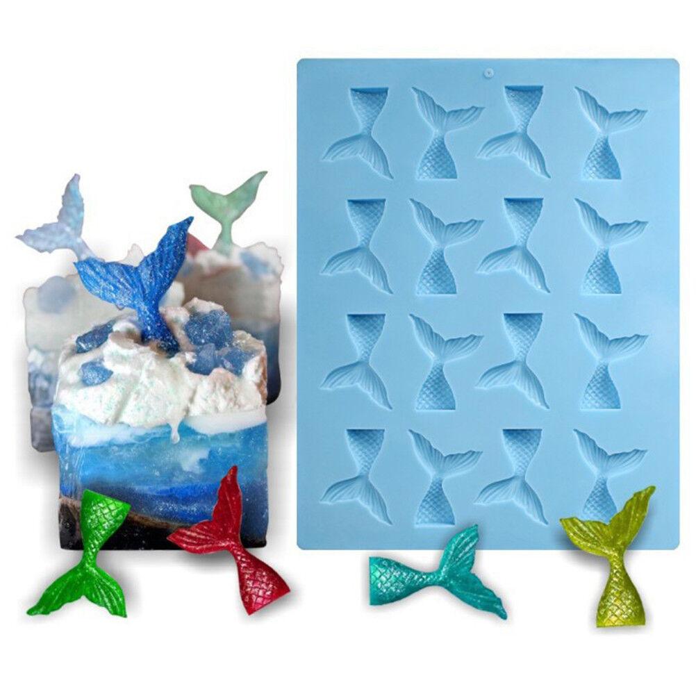 Mini Silicone Mermaid Tail Mold Fondant Cake Molds Cupcake Kitchen Baking ToolTC