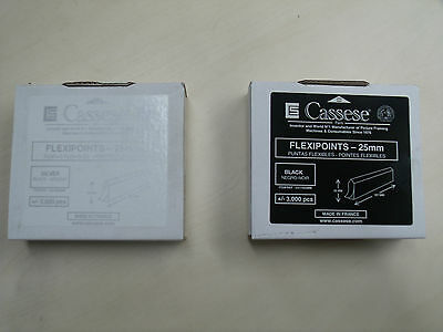 Cassese 25mm flexi points 3000 per box silver or black SPECIAL PRICE