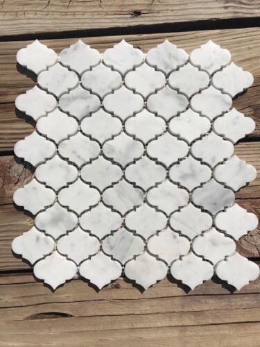 "Marble Mosaic Mini Arabesque Carrara Tile 12/""x12/"" sku# 951507"