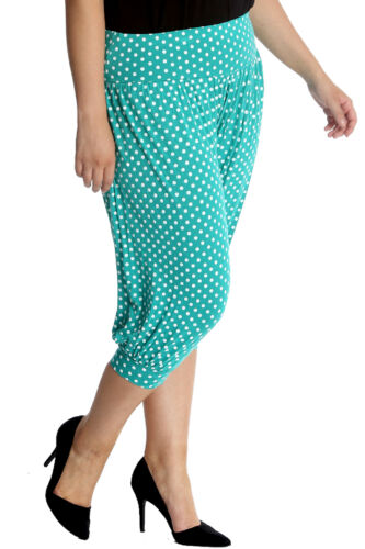 Womens Harem Trouser Plus Size Ladies Ali Baba Cropped Polka Dot Print Nouvelle