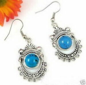 Asian-Tibet-Silver-And-Turquoise-Drop-Earrings
