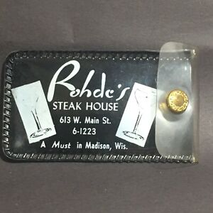 Vintage-Rohde-039-s-Steak-House-Madison-Wisconsin-Black-amp-Clear-Vinyl-Snap-Pouch