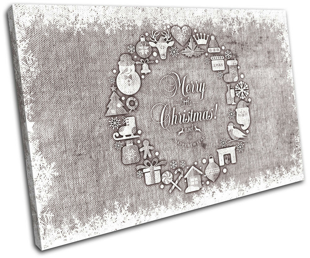 Christmas Decoration Wall Canvas ART Print XMAS Picture Gift Hessian 13 braun Ch