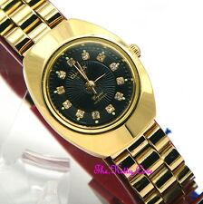 Designer Classic Omax Ladies Waterproof Gold Black Crystal Dress Watch WP3900