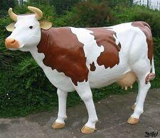 WERBE KUH ZENZI lebensgroß braun weiß GFK D&W COLLECTION Tier Figur Garten Deko
