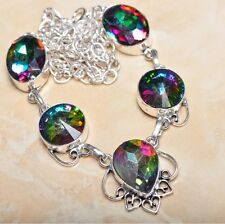 """Handmade Rainbow Mystical Fire Topaz 925 Sterling Silver Necklace 22"""" #N00460"""