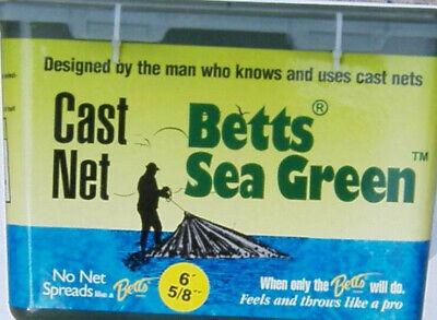 "BETTS 14-6 PRO SERIES SEA GREEN 6FT 5//8/"" MESH MONO CAST NET"