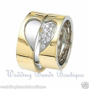 14k Two Tone Gold His Hers Matching Wedding Bands Diamond Rings Set