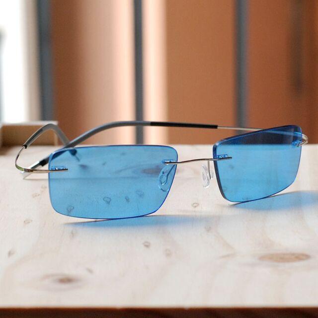 7e090f66df Pure Titanium Lightweight Sunglasses Hingeless mens Rimless blue lens  sunglasses