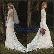 Vintage Lace Long Sleeve Winter Wedding Dress Bridal Gown Custom Made 2 4 6 8 10
