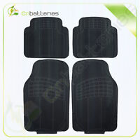 4pc Black Front And Back Heavy Duty Foldable Rubber Floor Mats For Auto Renault