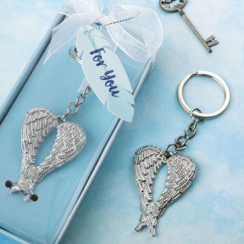 40 Silver Angel Wing Key Chain Baptism Religious Wedding Party Gift Favors