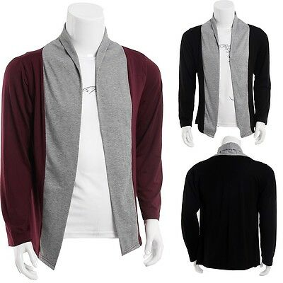 New Mens Stylish Slim Fit Knit V-Neck Cardigan Long Casual Sweater Coat Jacket