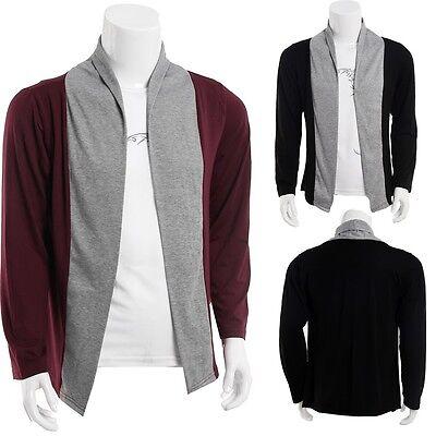 New Mens Stylish Slim Fit Knit V-Neck Cardigan Long Casual Sweater Coat Jacket