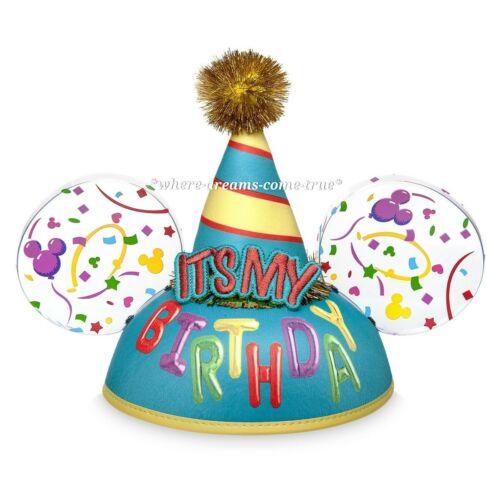 "/""It/'s My Birthday/'/' Metallic golden Pom Pom Mickey Ears Hat for Adults NEW"