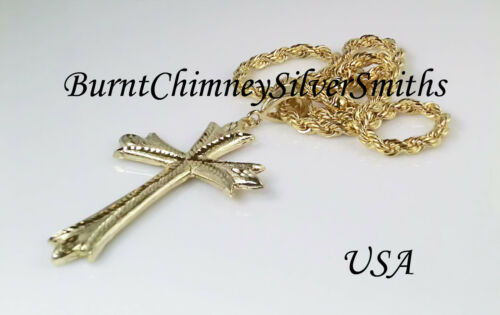 """14k Gold Filled XXL Religious Cross Includes 30/"""" X 4mm Chain Heavy Gold Bonded"""