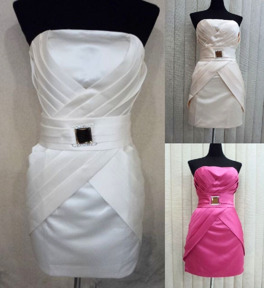Strapless Rhinestone Formal Cocktail Prom Evening Gown Ball Party Dress Plus Sz