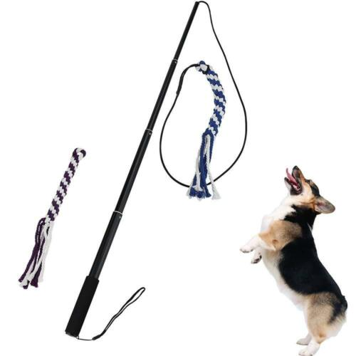 Flirt Pole Rope Tug Dog Toy Braided Cotton Blend Tough For Fun Outdoor Pet Play