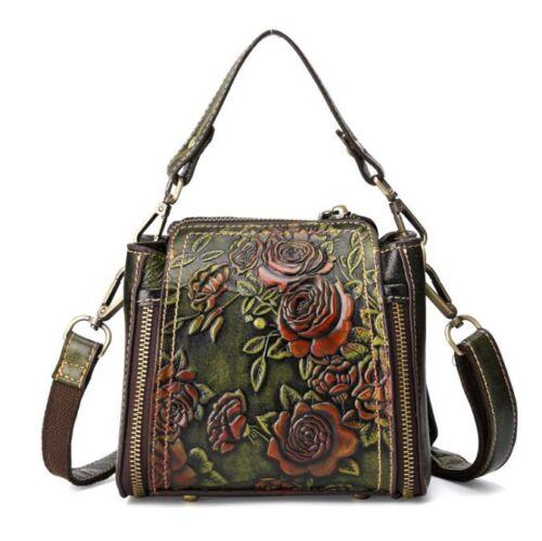 New Vintage Women Genuine Cow Leather Shoulder Bag Embossed Handbag Purse XS
