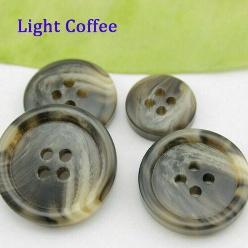 15mm-25mm 50Pcs Round Resin Buttons 4-Holes Sewing Scrapbooking DIY Craft Making