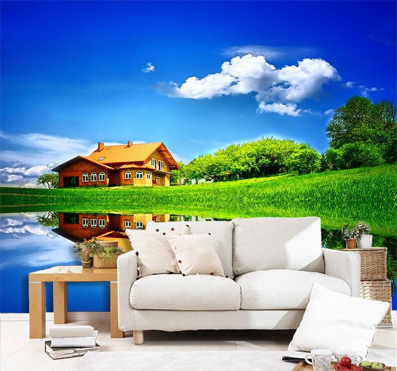 3D See Wiese Villa 97 Fototapeten Wandbild Fototapete Bild Tapete Familie Kinder