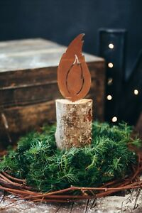 edelrost flamme f r baumstamm ftm kerze weihnachten advent licht dekoration ebay. Black Bedroom Furniture Sets. Home Design Ideas