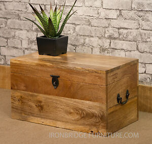 Image is loading Solid-Natural-Mango-Wood-Mantis-Wedding-Chest-Trunk- & Solid Natural Mango Wood Mantis Wedding Chest Trunk Toy Box Storage ...