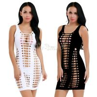 Women Summer Bodycon Cocktail Evening Party Hollow Out Short Mini Dress