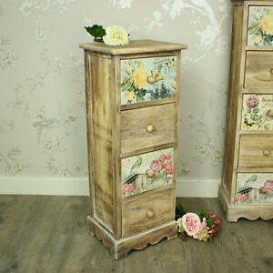 Floral 4 drawer tallboy chest of drawers shabby vintage chic bedroom ...