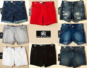 ROCK-amp-REPUBLIC-Womens-Denim-Shorts-Red-White-Blue-Black-Jeans-Raw-Hem-Shredded
