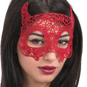 Mujer Rojo Encaje Devil Ojo Mascara Para Disfraz De Halloween